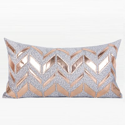 Trinh Faux Leather Chevron Pattern Throw Pillow Fill Material: No Fill, Product Type: Pillow Cover