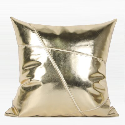 Torrington Faux Leather Pillow Color: Gold, Fill Material: No Fill, Product Type: Pillow Cover