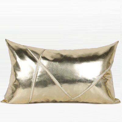 Totteridge Faux Leather Throw Pillow Color: Gold, Fill Material: Polyester, Product Type: Throw Pillow