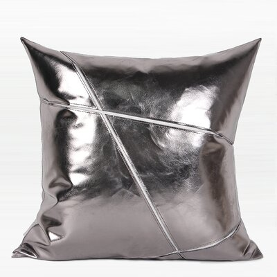 Torrington Faux Leather Pillow Color: Silver, Fill Material: Down Feather, Product Type: Throw Pillow