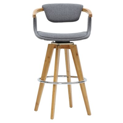 Castiglia 29.5 Swivel Bar Stool Upholstery: Stokes Gray/Natural