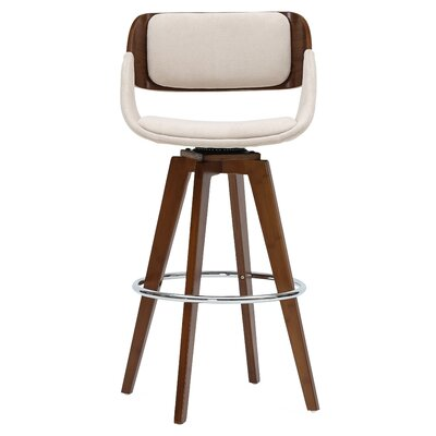 Castille 29.5 Swivel Bar Stool Upholstery: Santorini Sand/Walnut