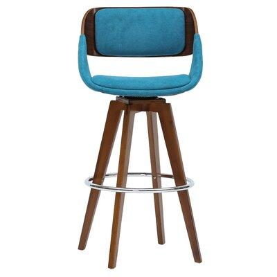 Castille 29.5 Swivel Bar Stool Upholstery: Santorini Teal/Walnut