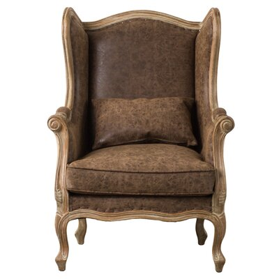 Addington Wingback Chair Upholstery: Nubuck Chocolate
