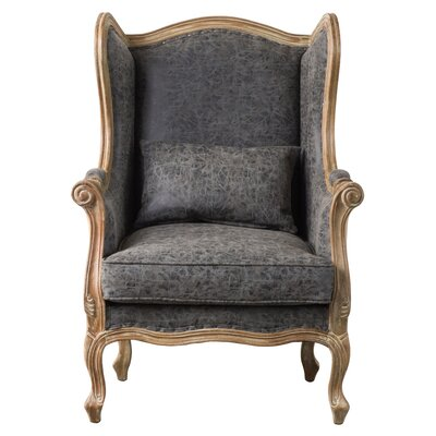 Addington Wingback Chair Upholstery: Nubuck Charcoal Gray