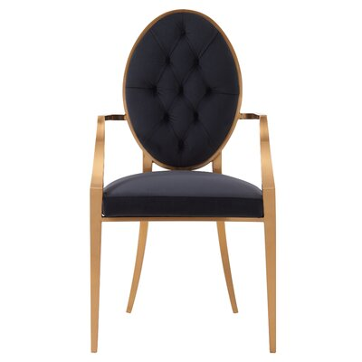 Kwan Upholstered Dining Chair Upholstery: Royal Black