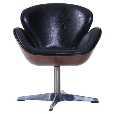 Rudder Swivel Barrel Chair Upholstery: Distressed Black