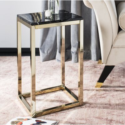 Katrina End Table Table Base Color: Brass