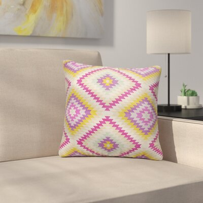 Sulien Indoor/Outdoor Throw Pillow Size: 24 H x 24 W x 5 D, Color: Beige/ Pink/ Ivory/ Purple