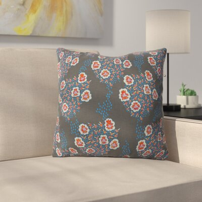 Boho Floral Throw Pillow Size: 18 H x 18 W x 5 D, Color: Dark Gray