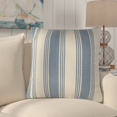 Douglasville Cotton Throw Pillow Size: 20 H x 20 W x 4 D, Color: Cobalt/Ivory