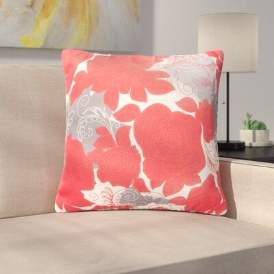Floral Throw Pillow Size: 20 H x 20 W, Color: Red