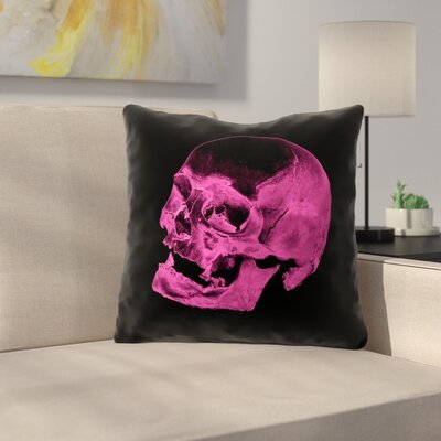 Waterproof Skull Throw Pillow Color: Pink/Black, Size: 18 x 18