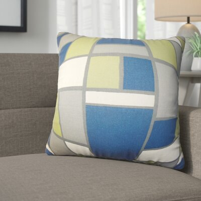 Briley Geometric Cotton Throw Pillow Color: Blue