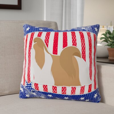 Patriotic USA Shih Tzu Indoor/Outdoor Throw Pillow Size: 14