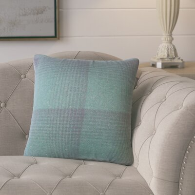 Gladding Plaid Cotton Throw Pillow Color: Green