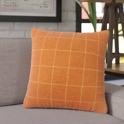 Janvier Plaid Throw Pillow Color: Orange