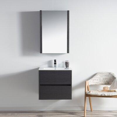 Oquendo 24 Wall-Mounted Single Bathroom Vanity Set with Medicine Cabinet Base Finish: Espresso