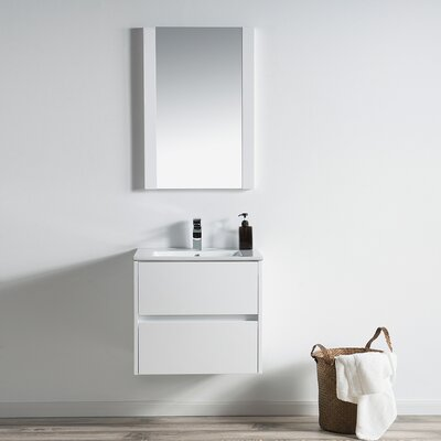 Oquendo 24 Wall-Mounted Single Bathroom Vanity Set with Mirror Base Finish: Glossy White