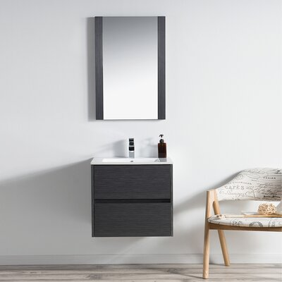 Oquendo 24 Wall-Mounted Single Bathroom Vanity Set with Mirror Base Finish: Espresso