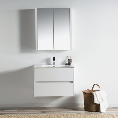Oquendo 30 Wall-Mounted Single Bathroom Vanity Set with Medicine Cabinet Base Finish: Glossy White