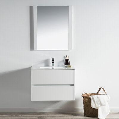 Oquendo 30 Wall-Mounted Single Bathroom Vanity Set with Mirror Base Finish: Glossy White