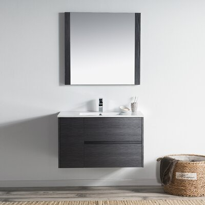 Oquendo 36 Wall-Mounted Single Bathroom Vanity Set with Mirror Base Finish: Espresso