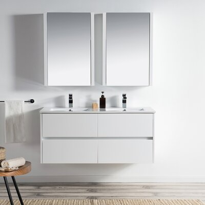 Oquendo 48 Wall-Mounted Double Bathroom Vanity Set with Medicine Cabinet Base Finish: Glossy White