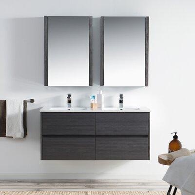 Oquendo 48 Wall-Mounted Double Bathroom Vanity Set with Medicine Cabinet Base Finish: Espresso