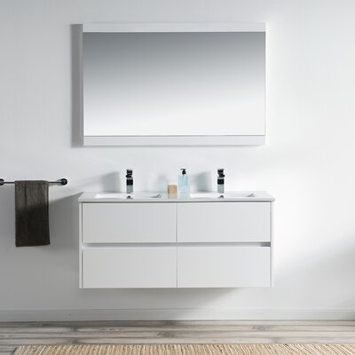 Oquendo 48 Wall-Mounted Double Bathroom Vanity Set with Mirror Base Finish: Glossy White