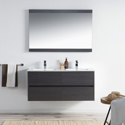 Oquendo 48 Wall-Mounted Double Bathroom Vanity Set with Mirror Base Finish: Espresso