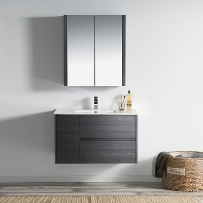 Oquendo 36 Wall-Mounted Single Bathroom Vanity Set with Medicine Cabinet Base Finish: Espresso