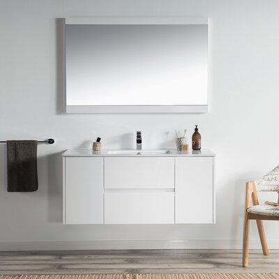 Oquendo 48 Wall-Mounted Single Bathroom Vanity Set with Mirror Base Finish: Glossy White
