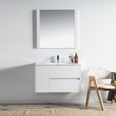 Oquendo 36 Wall-Mounted Single Bathroom Vanity Set with Mirror Base Finish: Glossy White