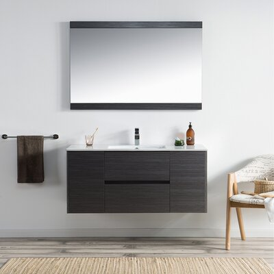 Oquendo 48 Wall-Mounted Single Bathroom Vanity Set with Mirror Base Finish: Espresso