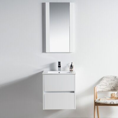 Oquendo 20 Wall-Mounted Single Bathroom Vanity Set with Mirror Base Finish: Glossy White