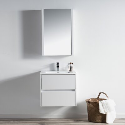 Oquendo 24 Wall-Mounted Single Bathroom Vanity Set with Medicine Cabinet Base Finish: Glossy White