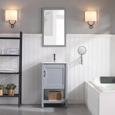Mattis 20 Wall-Mounted Single Bathroom Vanity Set with Mirror Base Finish: Metal Gray