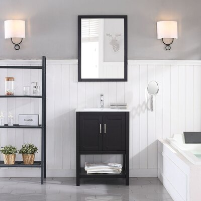 Mattis 24 Wall-Mounted Single Bathroom Vanity Set with Mirror Base Finish: Espresso