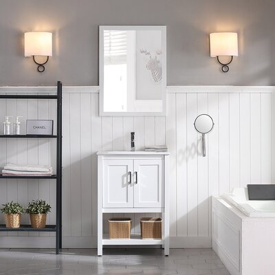 Mattis 24 Wall-Mounted Single Bathroom Vanity Set with Mirror Base Finish: Matte White