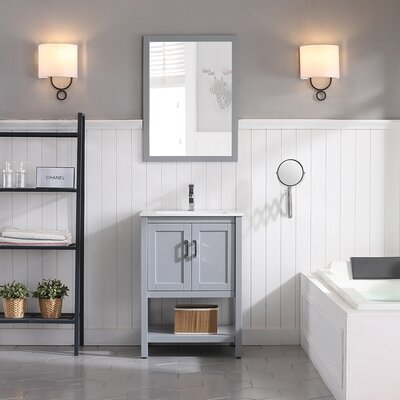 Mattis 24 Wall-Mounted Single Bathroom Vanity Set with Mirror Base Finish: Metal Gray