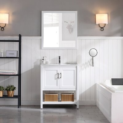 Mattis 30 Wall-Mounted Single Bathroom Vanity Set with Mirror Base Finish: Matte White