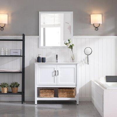 Mattis 36 Wall-Mounted Single Bathroom Vanity Set with Mirror Base Finish: Matte White