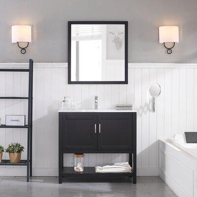 Mattis 36 Wall-Mounted Single Bathroom Vanity Set with Mirror Base Finish: Espresso