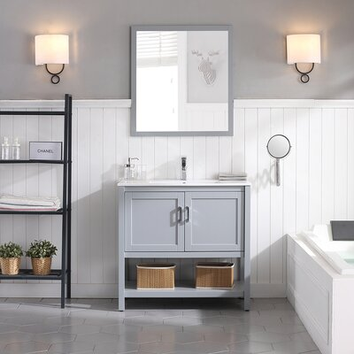 Mattis 36 Wall-Mounted Single Bathroom Vanity Set with Mirror Base Finish: Metal Gray