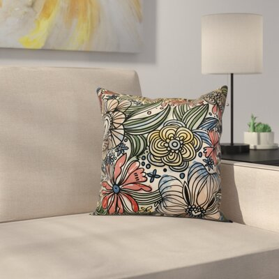 Natahsa Zentangle Floral Outdoor Throw Pillow Size: 20 H x 20 W x 2 D, Color: Red