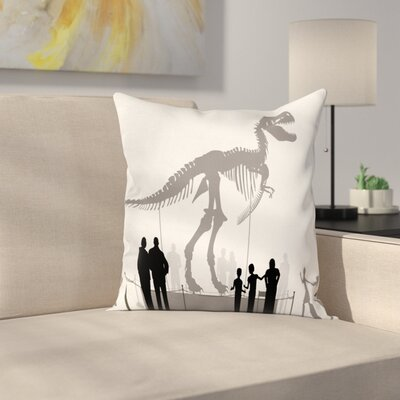 Dinosaur People Look at T-Rex Square Cushion Pillow Cover Size: 16 x 16