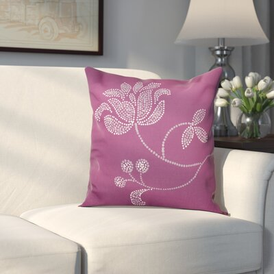 Maniteau Flower Bloom Print Throw Pillow Size: 26 H x 26 W, Color: Purple
