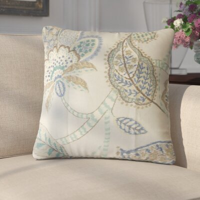 Gunnel Floral Linen Throw Pillow Color: Aqua/Cocoa