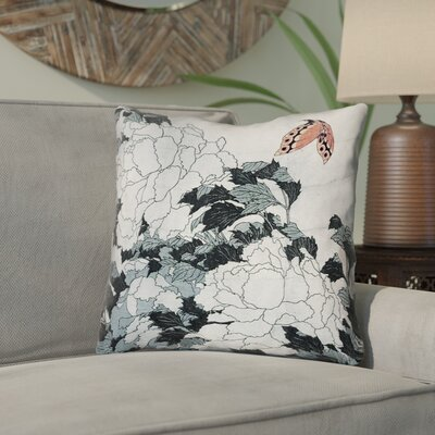 Clair Peonies with Butterfly Linen Throw Pillow Color: Orange/Gray, Size: 14 x 14